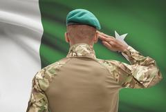 Dark-skinned soldier in hat facing national flag series - Pakistan - stock photo