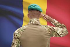 Dark-skinned soldier in hat facing national flag series - Romania Stock Photos