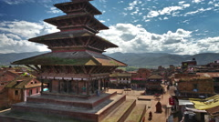 Time-lapse of Nyatapola temple and Taumadhi square in Bhaktapur, Nepal. Stock Footage