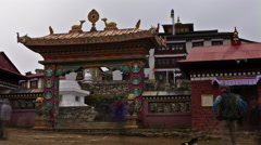 Time-lapse at the entrance to Tengboche Monastery in Nepal. Stock Footage
