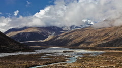 Time-lapse of the valley floor in the Himalaya in Nepal. Stock Footage