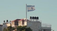 Israel flag in East Jerusalem Stock Footage