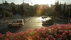 Lively street at sunset Stock Footage