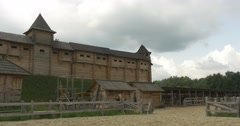 Shed For The Horses, Stabling, Ancient City Wall on The Hill, Stadium, Museum Stock Footage