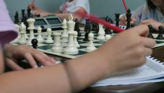 Chess Tournament Kids - Girls at Play & Notaition Stock Footage