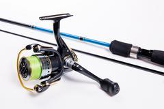 Fishing rod isolated on white. Stock Photos