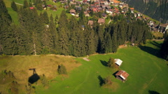 Tracking shot of a town in Switzerland taken from a descending tram Stock Footage