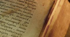 Old Book Picture Close Up Paterik of Kiev-Pecherska Lavra Old-Slavic Style of - stock footage