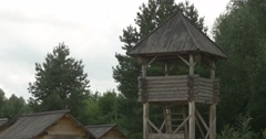 Wooden Log Watchtower on a Pillars, Roof, Stairs Stock Footage