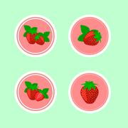 Stock Illustration of Design Stickers with Juicy Ripe Strawberry