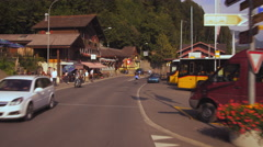 Panning shot of Rothorn Barn train station in Brienz, Switzerland Stock Footage