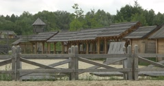Stable Under the Shed, Wooden Fence, Sandy Stadium Stock Footage