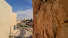 Pushing time-lapse of the Dome of the Rock from a wall to the south west. Stock Footage
