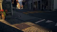 Twilight footage of a road in Brienz, Switzerland Stock Footage
