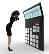 3d woman in tension while looking at question mark on calculator lcd concept - stock illustration
