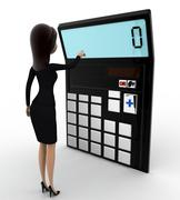 3d woman with calculator to calculate accounts concept - stock illustration