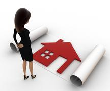 3d woman with house plan on paper scroll concept - stock illustration