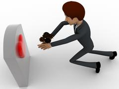 3d man putting flower on grave stone of his love concept - stock illustration