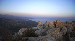 View of the sea of Galilee from Mount Arbel. Stock Footage
