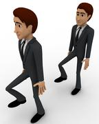 3d man following action of another man concept Stock Illustration