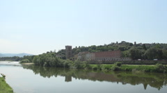 Arno river with view at porta san niccolo  Stock Footage
