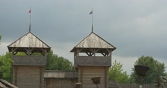 Upper Part of a Observation Towers, Flags, Gray Sky on Backgraung Stock Footage