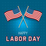 Labor Day Flags Card - stock illustration