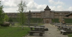Protective Wall and Gate of an Ancient City, Wide Shot, Museum at the Open Air Stock Footage