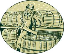 Brewer Brewing Beer Etching Stock Illustration