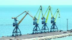 Port cranes on the quay Stock Footage