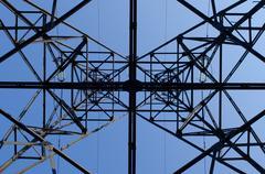 high-voltage power line - stock photo