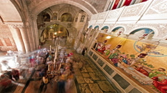 Low-angle time lapse of room in Church of the Holy Sepulchre Stock Footage