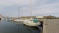 A small marina on the isle of Bornholm Stock Footage