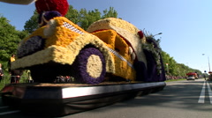Tulipman flowers car during the flower parade in Lisse, Netherlands Stock Footage
