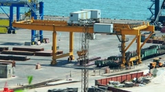 Work of gantry crane at sea port Stock Footage