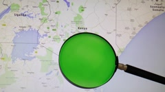 KENYA seen trough a green magnifying glass Stock Footage