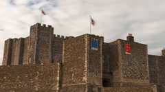 Time-lapse of flags blowing over Dover Castle Stock Footage