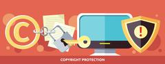 Stock Illustration of Concept of Copyright Protection in Internet