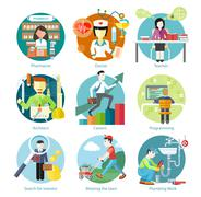 Set of Circle Icons with Different Professions - stock illustration