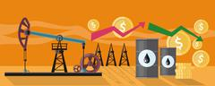 Graphic Changes in Oil Prices Production Stock Illustration