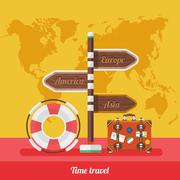 Travel Concept Stylish Background with World Map Stock Illustration