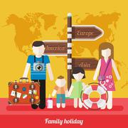 Happy Family Trip Traveling Holiday - stock illustration
