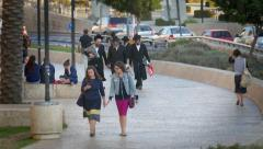 Stylish young women walking in Jerusalem (4k) Stock Footage