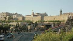 Lively modern and ancient street in Jerusalem Stock Footage
