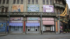 Old movie theater at Shanghai Chedun Film Park Stock Footage