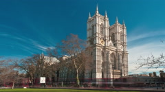 Time-lapse of Westminster Abbey under a blue sky in London. Stock Footage