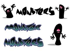 creepy monster font and character over white - stock illustration