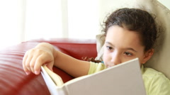 Frontal shot of girl with a book Stock Footage