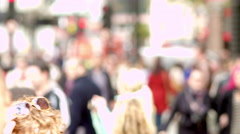 Bright, blurred shot of crowded sidewalk in London. Stock Footage