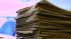 Stacks of old documentation close up Stock Footage